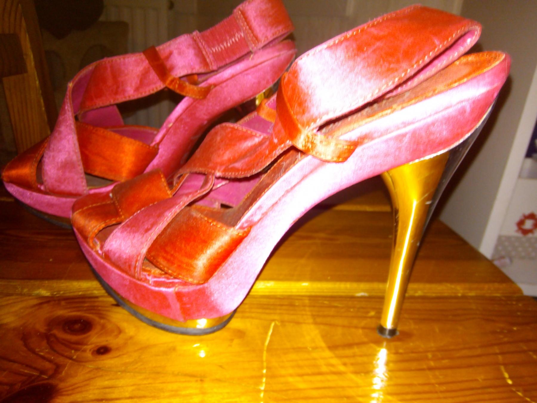chaussures compensées fuschia - 1