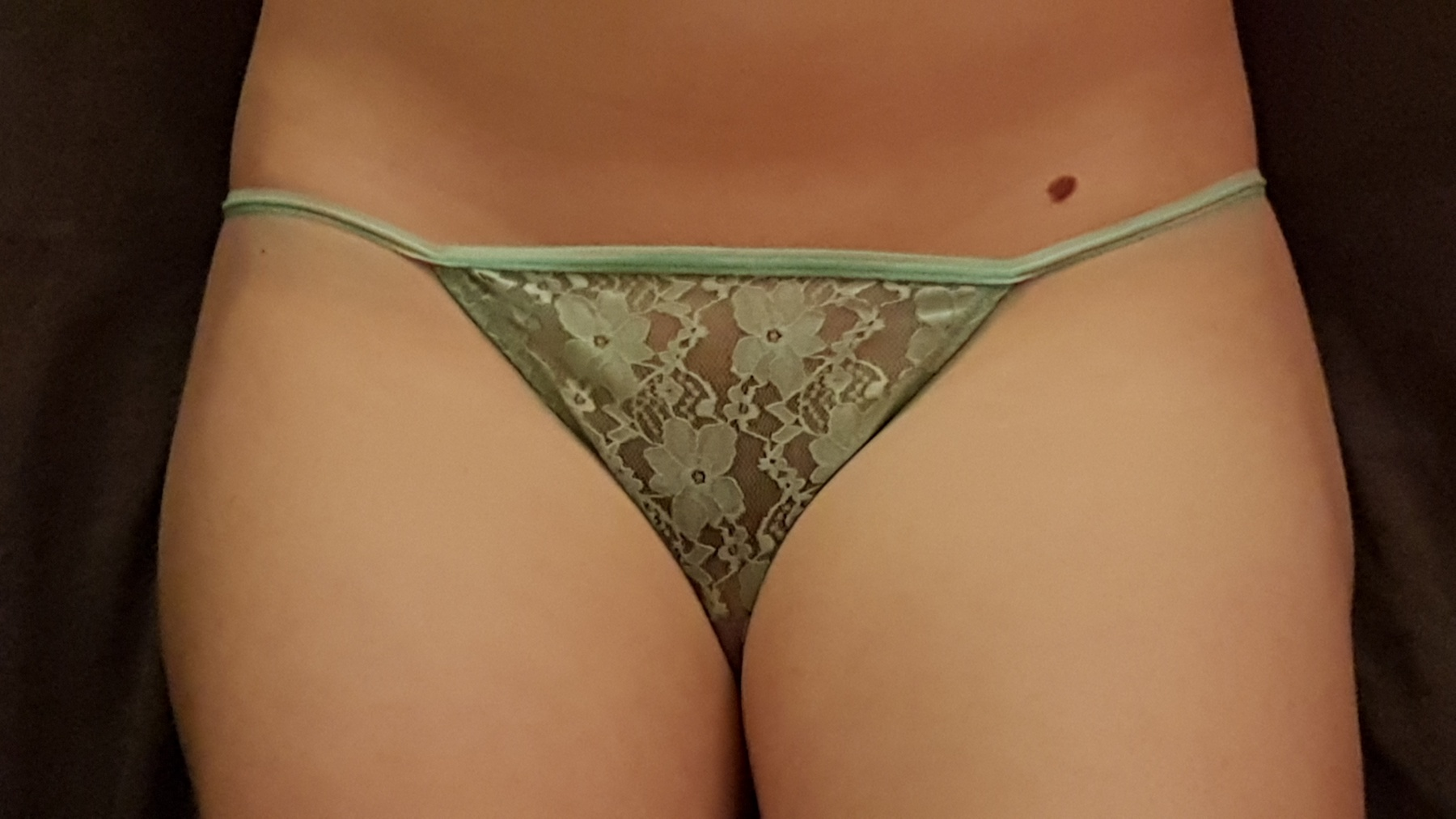 Used turquoise laced G-string