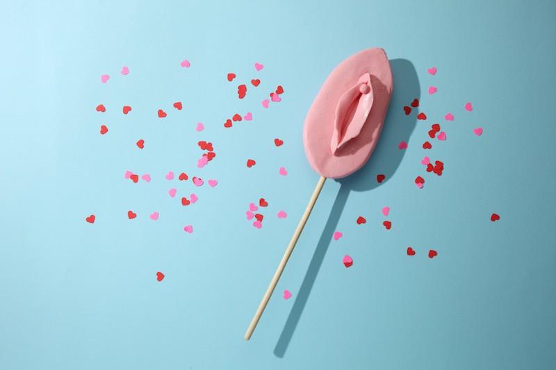 Lollipop with vulva shape